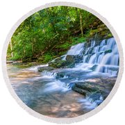 Forest Stream And Waterfall Round Beach Towel