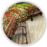 Formal Garden Round Beach Towel