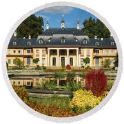 Formal Garden In Front Of A Castle Round Beach Towel