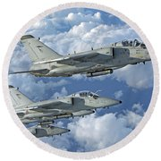 Formation Of Italian Air Force Amx-acol Round Beach Towel