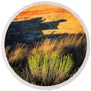 Fossil Beds And Grass Round Beach Towel