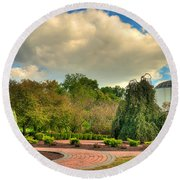 Founders Hall From The Garden Round Beach Towel
