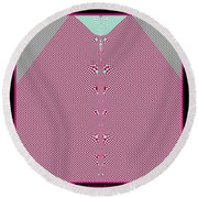 Fractal 28 Pink Gingham Shirt Round Beach Towel