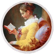 Fragonard's Young Girl Reading Round Beach Towel