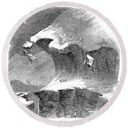 France Mont Blanc, 1851 Round Beach Towel