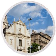 Franciscan Church Of Pest In Budapest Round Beach Towel