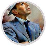 Frank Sinatra  Round Beach Towel by Ylli Haruni