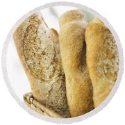French Baguette In Basket Round Beach Towel