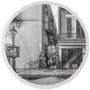 French Quarter Trio - Paint Bw Round Beach Towel