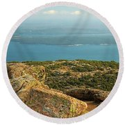 Frenchman's Bay From Cadillac Mountain Round Beach Towel