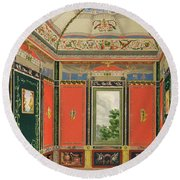 Fresco Decoration In The Summer House Round Beach Towel