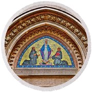 Fresco In Front Of Saint Anthony's Church In Istanbul-turkey  Round Beach Towel