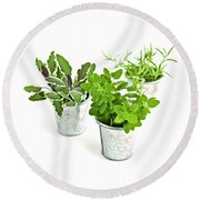 Fresh Herbs Round Beach Towel
