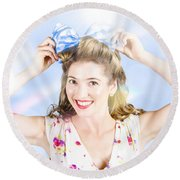Friendly Female Pin-up Wearing Hair Accessories  Round Beach Towel