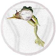 Frog On Waterline Round Beach Towel