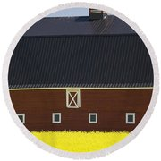 Front Of A Red Barn In A Flowering Round Beach Towel