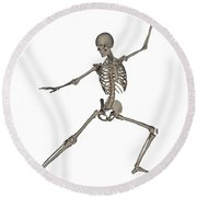 Front View Of Human Skeleton Round Beach Towel