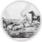 Frontiersman, 1858 Round Beach Towel