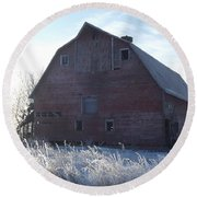 Frosty Barn Round Beach Towel