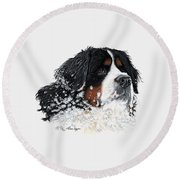 Frosty Outside With Frost Round Beach Towel