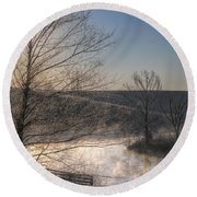 Frosty Sunrise Round Beach Towel