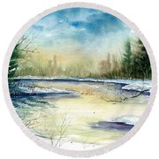 Frozen Creek Round Beach Towel