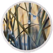 Frozen Raindrops Impasto Round Beach Towel