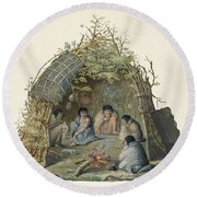 Fuegans In Their Hut, 18th Century Round Beach Towel