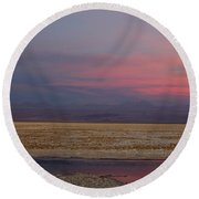 Full Moon Over Laguna De Chaxa Round Beach Towel