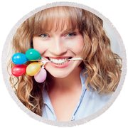 Fun Party Girl With Balloons In Mouth Round Beach Towel