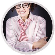 Funny Female Business Nerd With Big Geeky Smile Round Beach Towel