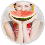 Funny Woman With Juicy Fruit Smile Round Beach Towel