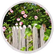 Garden Fence With Roses Round Beach Towel by Elena Elisseeva