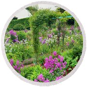 Garden Of Claude Monets House, Giverny Round Beach Towel