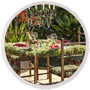 Garden Table Setting Round Beach Towel