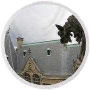 Gargoyles On Roof Of Biltmore Estate Round Beach Towel