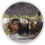 Gaucho With Herd Of Horses Round Beach Towel