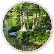 Gazebo By Lake Round Beach Towel