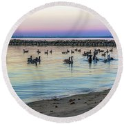 Geese At Dusk Round Beach Towel