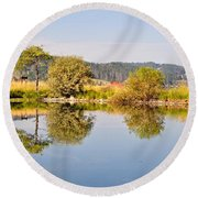 George Town Lake Reflections Round Beach Towel