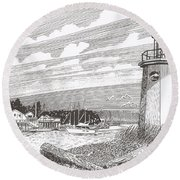 Lighthouse Gig Harbor Entrance Round Beach Towel