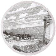 Lighthouse Gig Harbor Entrance Round Beach Towel