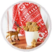 Gingerbread At Christmas Round Beach Towel