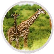Mom Giraffe And Little Joey Round Beach Towel