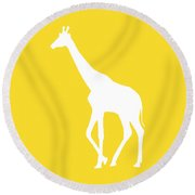 Giraffe In Golden And White Round Beach Towel