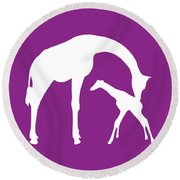Giraffe In Purple And White Round Beach Towel