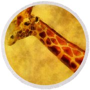 Giraffe Painting Round Beach Towel by Dan Sproul