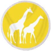Giraffes In Golden And White Round Beach Towel