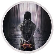 Girl In The Woods Round Beach Towel
