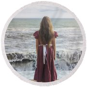 Girl On Beach Round Beach Towel